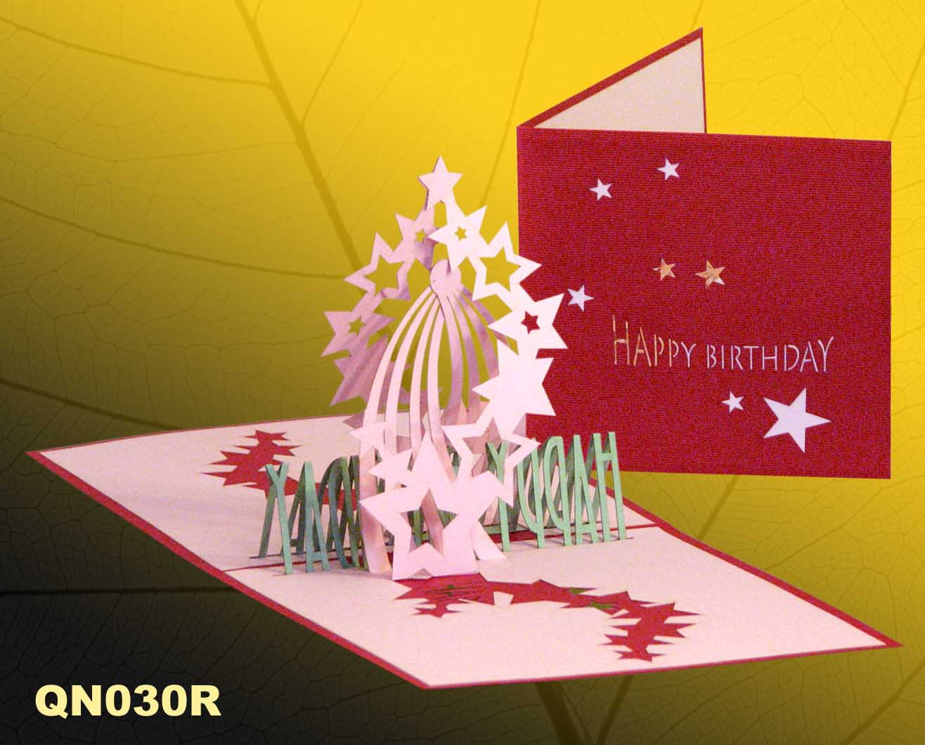Birthday star 2 pop up handmade greeting cards qn030 m4hsunfo
