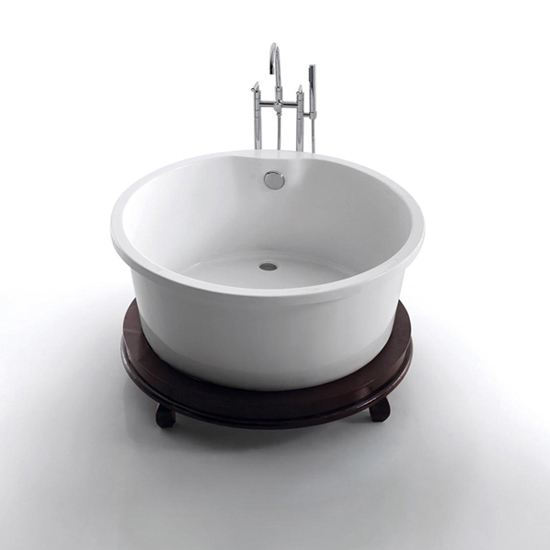 Wooden Foot Acrylic Round Bathtub - DWF808