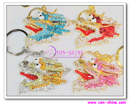Fashion Multi Crystal Dragon Keyring - KC-6569