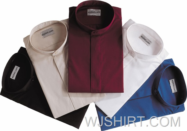 Men CVC Banded Collar Clergy Dress Shirt - WJ