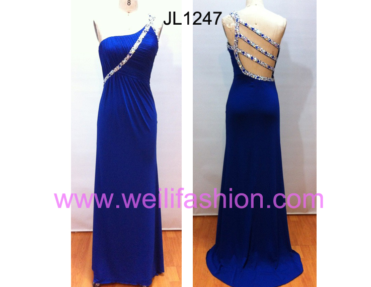 Long Beading Crystal Hemp Evening Dresses - JL1247