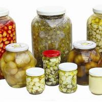 Large picture pickled garlic in jars