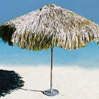 Large picture TROPICAL REAL PALM LEAF THATCHED UMBRELLA