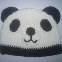 Large picture kid beanie hat of panda design