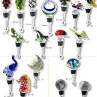 Large picture glass wine bottle stopper