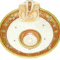 Large picture Marble puja thali