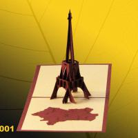 Large picture Eiffel tower pop up handmade greeting cards