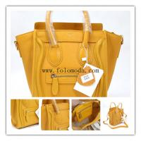 Large picture leather handbag