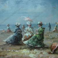 Large picture beach oil painting
