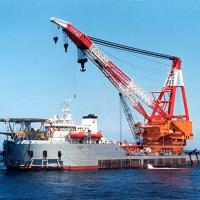 Large picture floating crane barge hire charter rent sale