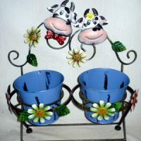 "Large picture 16.75""h Cows Holding 2pots"