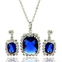 Large picture sterling silver sapphire jewelry set