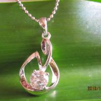 Large picture sterling silver Cubic Zircona pendant necklace