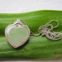 Large picture 925  silver Cubic Zircona and green jade necklace