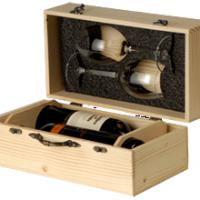 Large picture Wooden Box For Two Bottles And Two Glasses