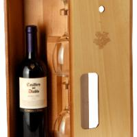 Large picture Wooden Box For One Bottle And Two Glasses