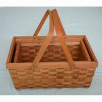 Large picture wooden handle basket