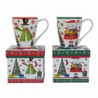 Large picture Christmas ceramic mug with gift box