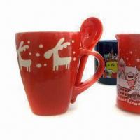Large picture Ceramic christmas mug with spoon