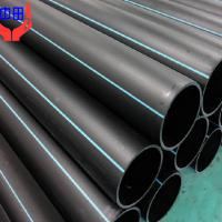 Large picture black hdpe pipe with blue strips for water supply