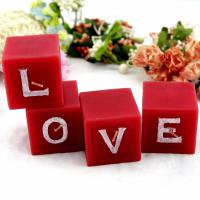 "Large picture Wedding Valentine Cube Lettle""Love"" Craft Candle"