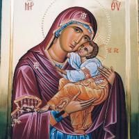 Large picture Byzantine icon of Virgin with Child