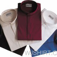 Large picture Men CVC Banded Collar Clergy Dress Shirt