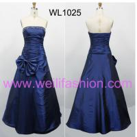 Large picture Long Pleated Beading Taffeta Prom Dresses