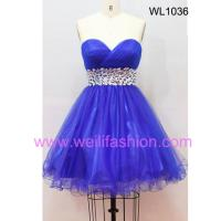 Large picture Short Pleated Beading Net Prom Dresses