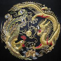 Handmade silk embroidery dragon painting art deco
