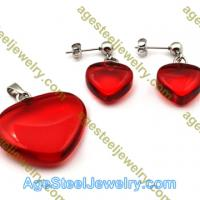 Pendant & Earring S0614 Red Stone