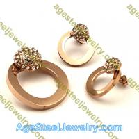 Pendant & Earring S0608 Rose Gold Round