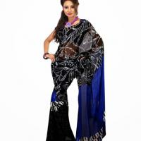 Large picture Blue & Black Colored Faux Georgette Saree
