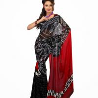 Large picture Red & Black Colored Faux Georgette Saree