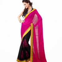 Large picture Awesome Pink & Black Bemberg & Jacquard Saree
