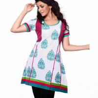 Large picture Fancy White & blue cotton kurti