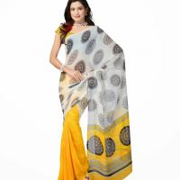 Large picture Fancy party wear yellow geogrette saree