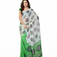 Large picture Fancy party wear Sea green colour geogrette sarees