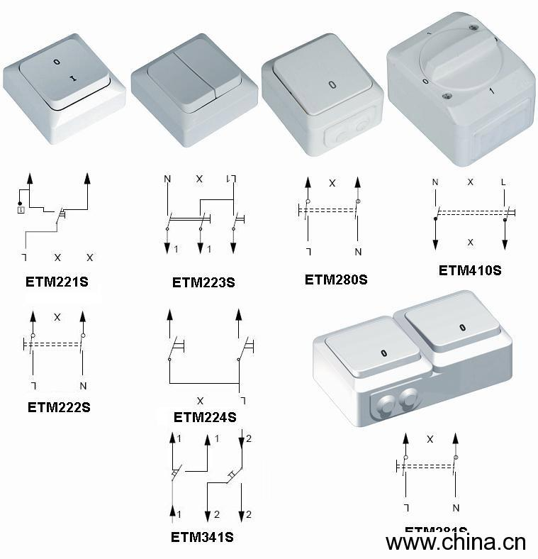 Surface-Type Wall Switch for Installation China (Mainland)